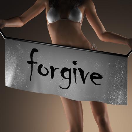 to forgive: perdonar palabra en banner y mujer bikiny