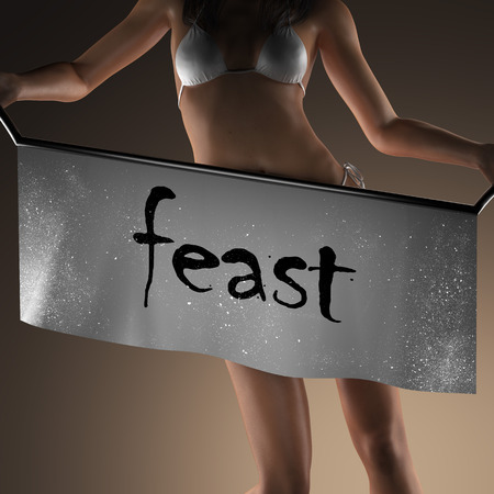 feast: feast word on banner and bikiny woman