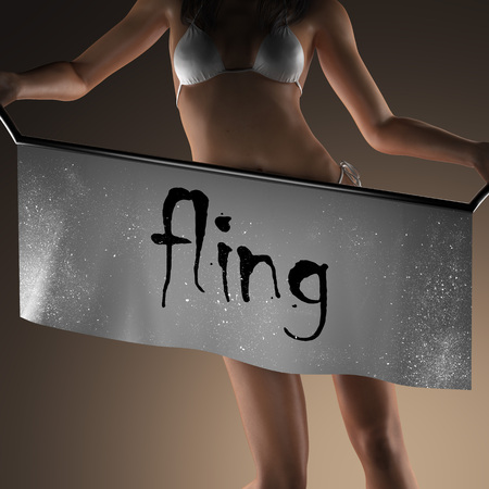 fling: fling word on banner and bikiny woman Stock Photo