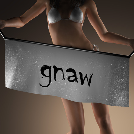 gnaw: gnaw word on banner and bikiny woman Stock Photo