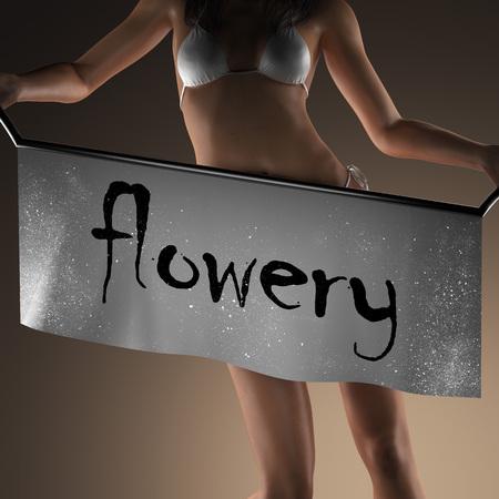 flowery: flowery word on banner and bikiny woman Stock Photo