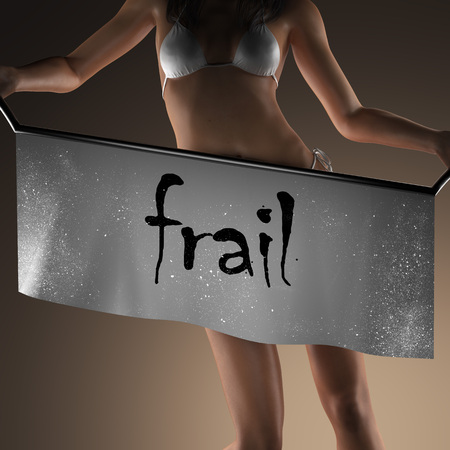 frail: frail word on banner and bikiny woman