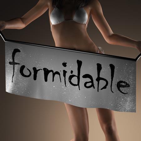 formidable: formidable word on banner and bikiny woman