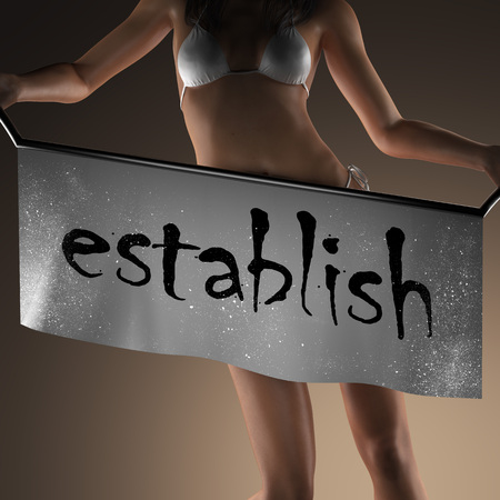 establish: establish word on banner and bikiny woman