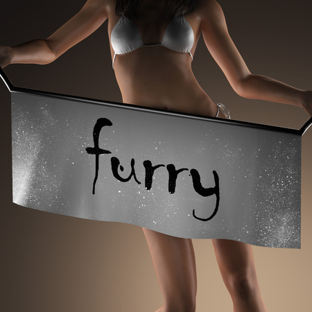 furry: furry word on banner and bikiny woman