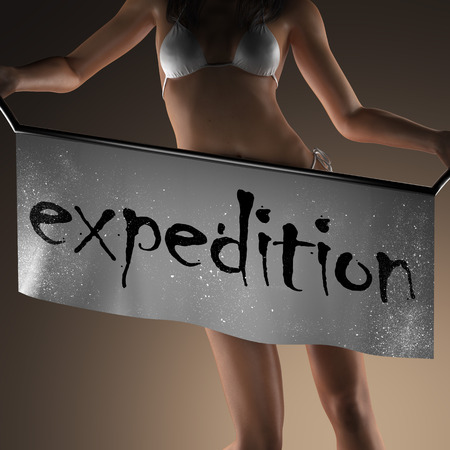expedition: expedition word on banner and bikiny woman Stock Photo