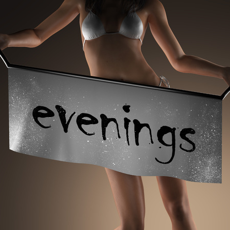 evenings: evenings word on banner and bikiny woman