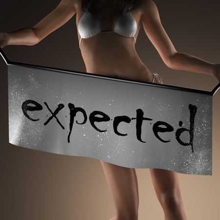 expected: expected word on banner and bikiny woman Stock Photo