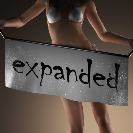 expanded: expanded word on banner and bikiny woman