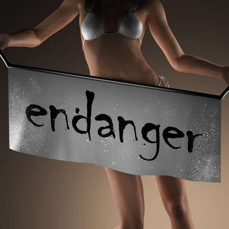 endanger: endanger word on banner and bikiny woman