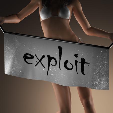 exploit: exploit word on banner and bikiny woman