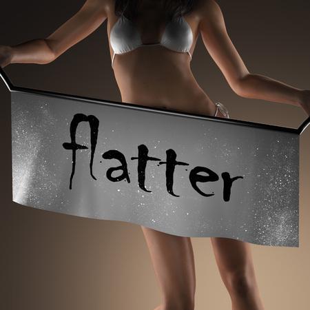 flatter: flatter word on banner and bikiny woman