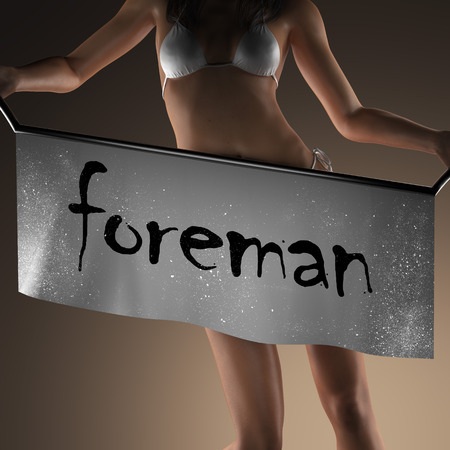 foreman: foreman word on banner and bikiny woman