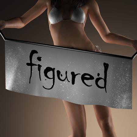 figured: figured word on banner and bikiny woman Stock Photo