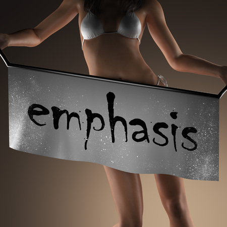 emphasis: emphasis word on banner and bikiny woman