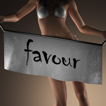 favour: favour word on banner and bikiny woman