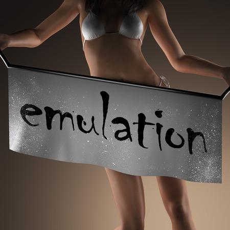 emulation: emulation word on banner and bikiny woman Stock Photo