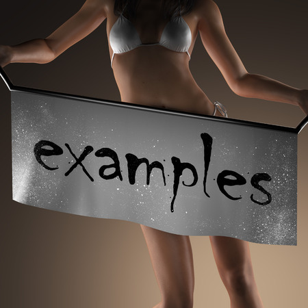 examples: examples word on banner and bikiny woman