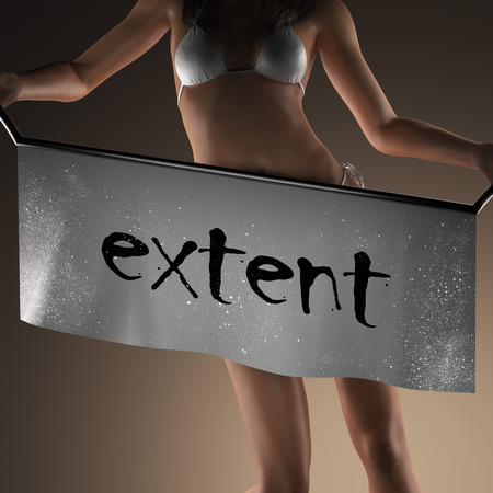 extent: extent word on banner and bikiny woman Stock Photo