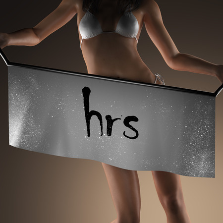 hrs: hrs word on banner and bikiny woman Stock Photo