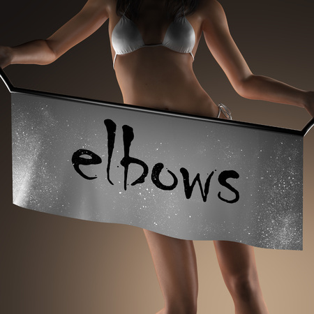 elbows: elbows word on banner and bikiny woman