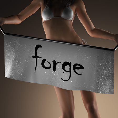 forge: forge word on banner and bikiny woman
