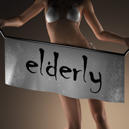 curvaceous: elderly word on banner and bikiny woman