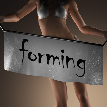 forming: forming word on banner and bikiny woman Stock Photo