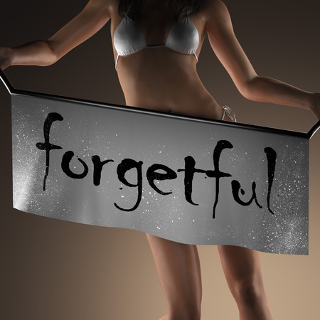 forgetful: forgetful word on banner and bikiny woman Stock Photo