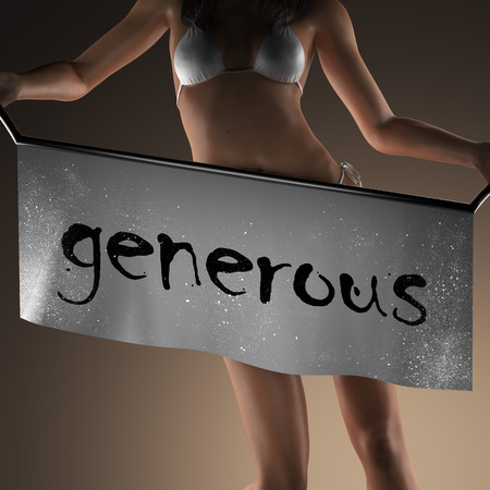 generous: generosa palabra en la bandera y la mujer bikiny