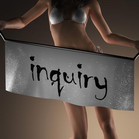 inquiry: inquiry word on banner and bikiny woman Stock Photo