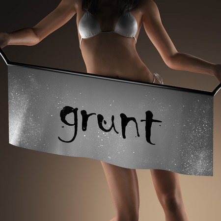 curvaceous: grunt word on banner and bikiny woman