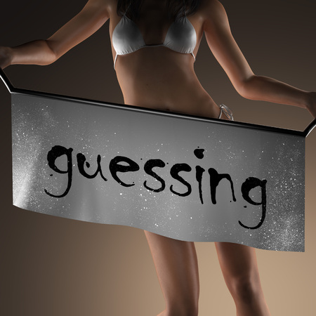 and guessing: guessing word on banner and bikiny woman Stock Photo