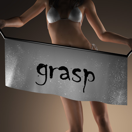 grasp: grasp word on banner and bikiny woman