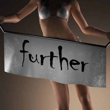 further: further word on banner and bikiny woman