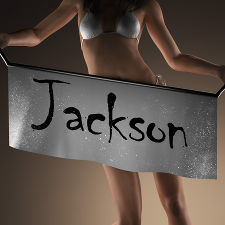 jackson: Jackson word on banner and bikiny woman