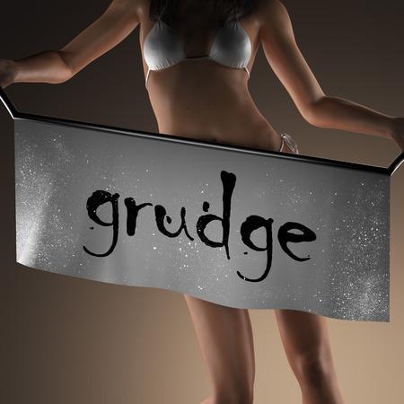grudge: grudge word on banner and bikiny woman