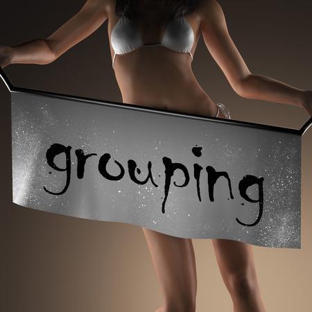 grouping: grouping word on banner and bikiny woman