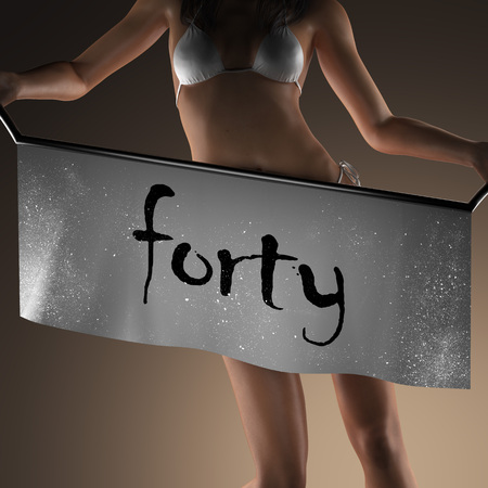 forty: forty word on banner and bikiny woman