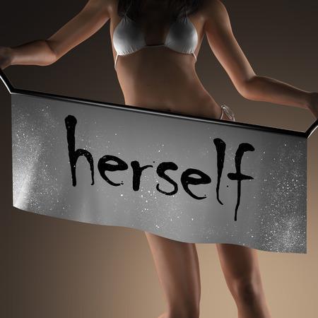 herself: herself word on banner and bikiny woman