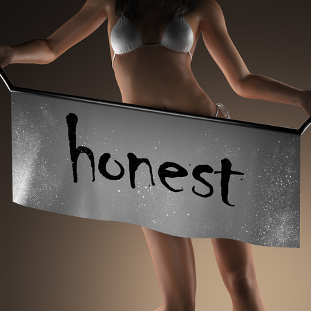 honest: honest word on banner and bikiny woman