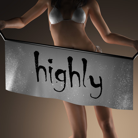 highly: highly word on banner and bikiny woman Stock Photo