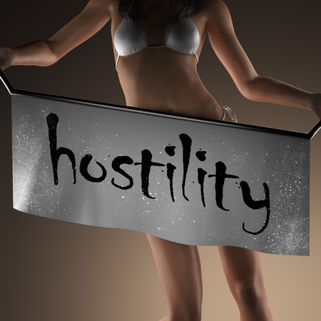 hostility: hostility word on banner and bikiny woman