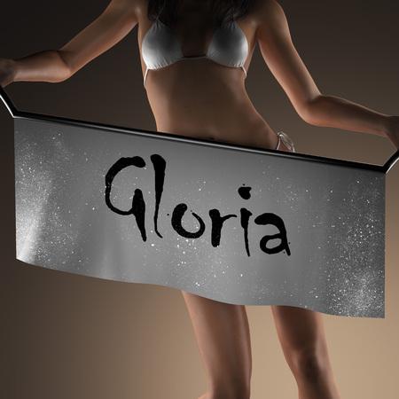 gloria: Gloria word on banner and bikiny woman