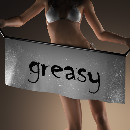 greasy: greasy word on banner and bikiny woman Stock Photo
