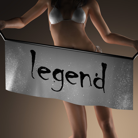 legend: legend word on banner and bikiny woman