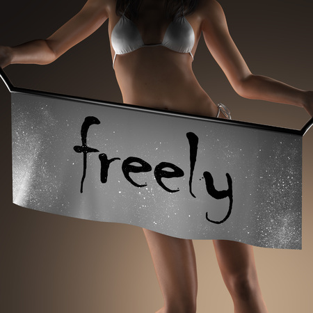 freely: freely word on banner and bikiny woman
