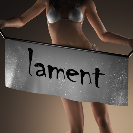 lament: lament word on banner and bikiny woman Stock Photo
