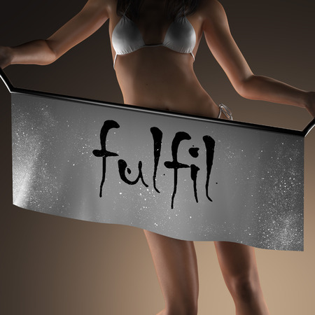 fulfil: fulfil word on banner and bikiny woman