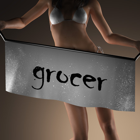 grocer: grocer word on banner and bikiny woman